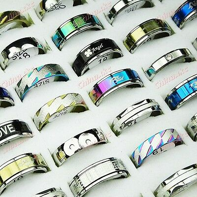 10pcs top stainless steel mixed rings freeshipping wholesale jewelry lots Unisex