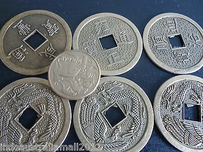 6 PCS Large Feng Shui Double Dragon Chinese I Ching Coins 38mm Dia(FS-CO27)