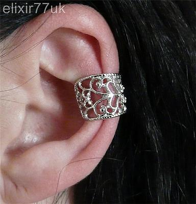 Uk New Gothic Silver Cartilage Ear-Cuff Clip-On Upper Helix Wrap Earring Punk Uk