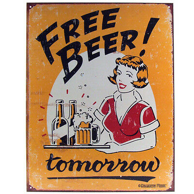 Free Beer Tomorrow Metal Bar Sign - Funny Tin Pub Drinking Poster Decor Display