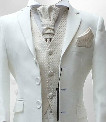 Boys Formal Mat White ( Cream) & Ivory Cravat Wedding Suit 6M To 16 Yrs