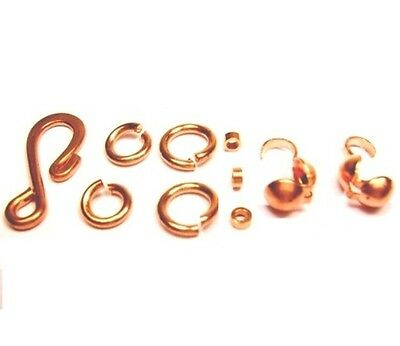 """368 P. COPPER CONNECTOR &CLASP KIT S"""" HOOK,JUMP RING ,CRIMP BEAD CLAMSHALL#1008"""