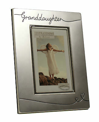 """Silver Plated Photo Frame GRANDDAUGHTER Holds 6"""" x 4"""" Picture GREAT GIFT FS625"""