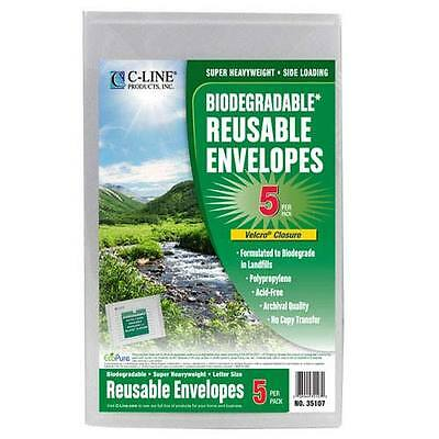 C-Line Clear Biodegradable Reusable XL Poly Envelopes w/ Hook and Loop Closure -