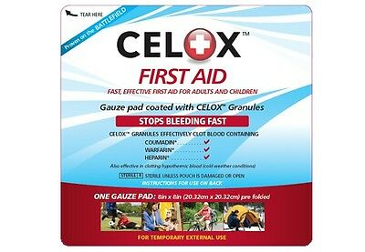 Celox Gauze Pad Home Blood Clotting Agent Stop Bleeding Bandage Dressing EMT NEW