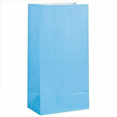 12 x BABY BLUE PAPER PARTY BAGS Birthday Gift Sweet Treat Loot Favour Goody Bag