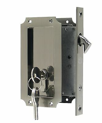 FPL Manor Pocket Door Mortise Lock with Double Keyed Cylinder- Multiple Finishes