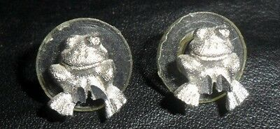 Cute Miniature Pewter Frog Pierced Earrings JJ?  Nice Condition LOOK L5