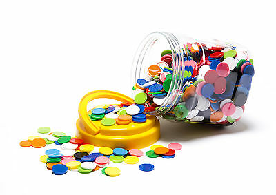 MATHS GAMES ROUND COLOURED COUNTERS 1000 pk (20mm) In Handy Storage Jar