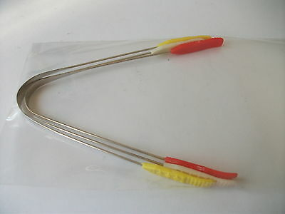 3 X  Steel Tongue Cleaner/Scrapers with Coloured Plastic Handle