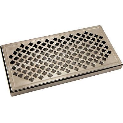 "12"" Surface Mount Drip Tray- Stainless Steel- No Drain- Draft Beer Spill Catcher"