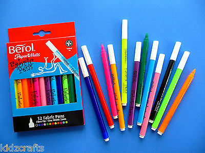Berol Fabric Pens 2mm Nibs Pack 12 Fabric Painting