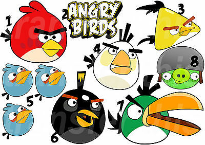 Angry Birds Transfert Textile Vetement T-Shirt Ou Sticker Autocollant Mural