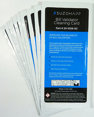 DOLLAR BILL VALIDATOR / ACCEPTOR CLEANING CARD 10 Pk for VENDING MACHINES