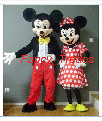 Mickey Minnie couple Mouse 2 mascot costume Adult Dress