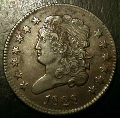 1828 13 Stars Classic Head Half Cent AU+/UNC About Uncirculated 1/2C Penny