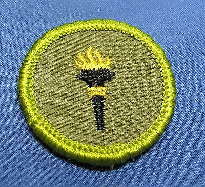 Vintage BSA Public Health Torch Scouts America Twill Round Merit Badge Patch