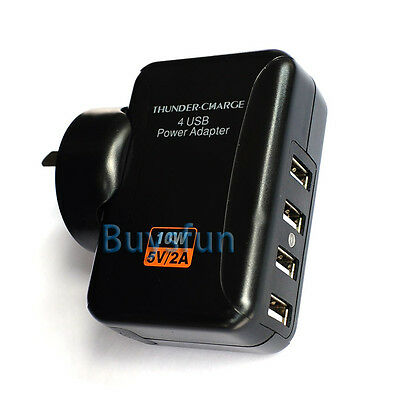 NEW AU Plug Black 2A 4-Port USB AC Wall Charger Adapter For iPod Touch 5 5G 4 4G