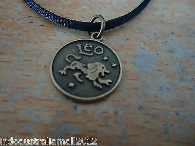 LEO Lucky Zodiac Sign Bronze Alloy Pendant on Black Cord
