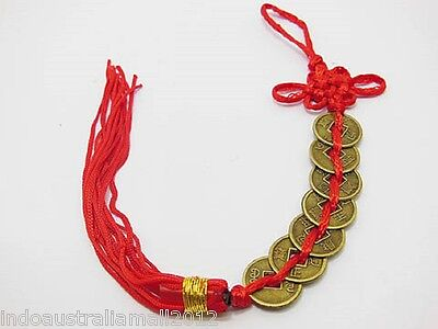 1 x Chinese Feng shui  7-Emperor Coins with Red Tassel For Wealth(FS-CO29)