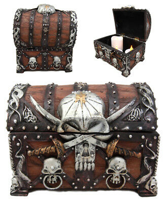 "Pirate Treasure Chest Trinket / Mini Jewelry Box 5.5"" Height Figurine Keepsake"