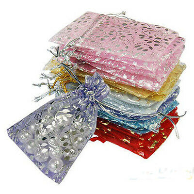 100pcs Organza Transparent Jewelry Pouch For Wedding Gift Candy Bags 10x12cm