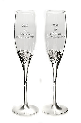 Personalised Heart and Diamanté Champagne Flutes Engagement Valentines Engraved