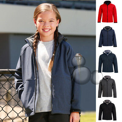 Kids Hooded Softshell Jacket Size 6 8 10 12 14 Winter Coat Black Navy Red Grey