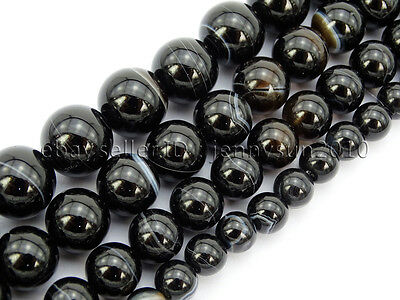 Natural Black with Stripe Onyx Gemstones Round Beads 15.5'' 8mm 10mm 12mm 14mm