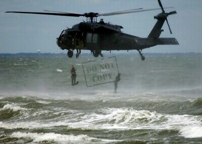 US Navy USN Seal Teamexit helicopter before securing the beach ST 8X12 PHOTO