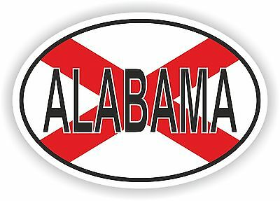 ALABAMA STATE OVAL WITH FLAG STICKER USA UNITED STATES bumper decal car helmet