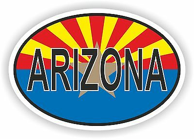 ARIZONA STATE OVAL WITH FLAG STICKER USA UNITED STATES bumper decal car helmet