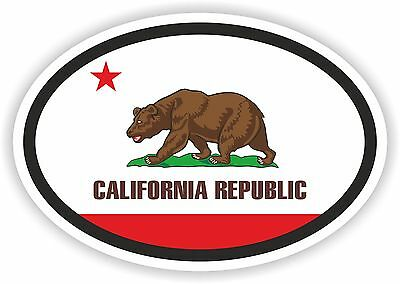 CALIFORNIA STATE OVAL WITH FLAG STICKER USA UNITED STATES bumper decal car