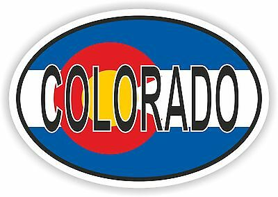 COLORADO STATE OVAL WITH FLAG STICKER USA UNITED STATES bumper decal car