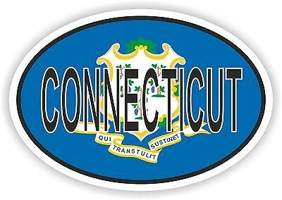 CONNECTICUT STATE OVAL WITH FLAG STICKER USA UNITED STATES bumper decal car