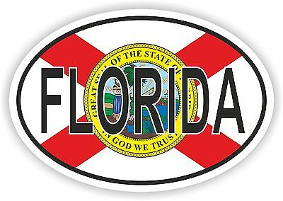 FLORIDA STATE OVAL WITH FLAG STICKER USA UNITED STATES bumper decal car