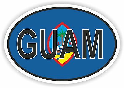 GUAM STATE OVAL WITH FLAG STICKER USA UNITED STATES bumper decal car