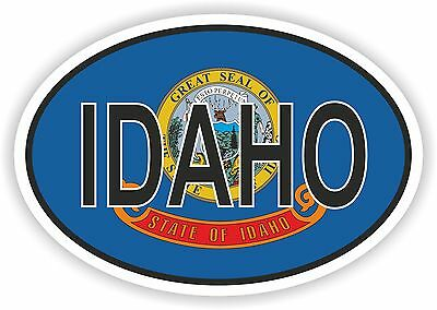 IDAHO STATE OVAL WITH FLAG STICKER USA UNITED STATES bumper decal car
