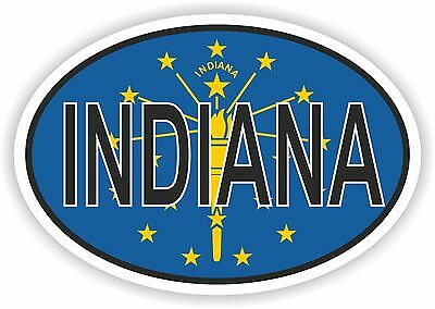 INDIANA STATE OVAL WITH FLAG STICKER USA UNITED STATES bumper decal car