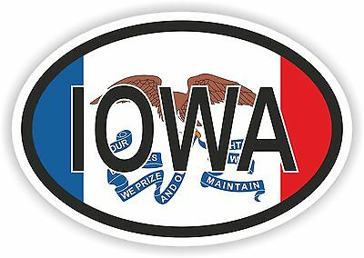 IOWA STATE OVAL WITH FLAG STICKER USA UNITED STATES bumper decal car