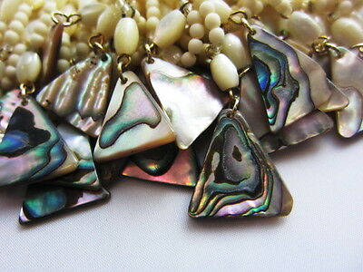 """Beautiful Vintage 1980's Style Abalone Shell Mother of Pearl 16"""" inch-S229"""