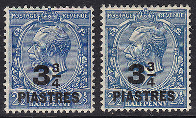 SG43 &43a 3¾pi on 2½d BLUE & DULL PRUSSIAN BLUE BRITISH LE