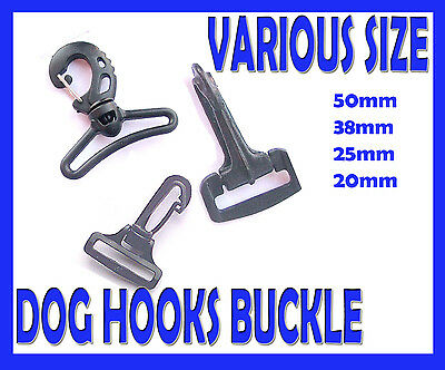 Black Plastic Snap Buckle Webbing  Dog Hook Metal Loop Assorted Sizes