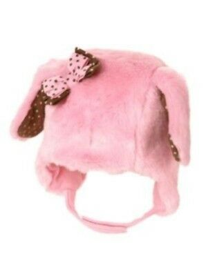 GYMBOREE POLKA DOT PUPPY PINK DOG FUR w/ BOW TRAPPER HAT 0 3 6 12 18 24 NWT