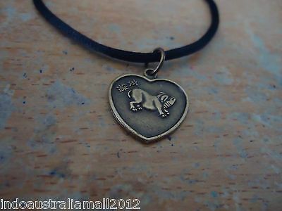 Fengshui Zodiac  Pig Pendant Boy Girl On Back With Black Cord (Fs-P34)