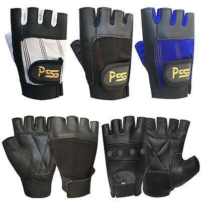 New fingerless leather gloves weight training gym bus driving cycling wheelchair