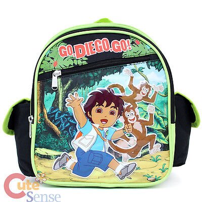 """Go Diego Go Toddler School Backpack 10"""" Small Bag with Monkey"""