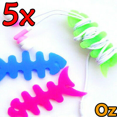5x Fishbone Cord Winder, 10 Colours Silicon Earphone Cable Roller Wire Spooler