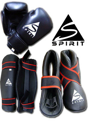 Spirit Kickboxing Sparring Set with Boxing Gloves, Shin Guard and Foot Pads