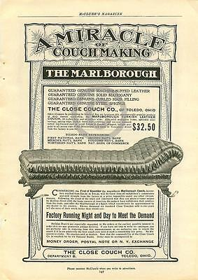 1902 The Marlborough Miracle of Couchmaking Close Couch Company Ad